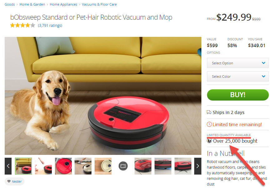 A roomba product page at Groupon