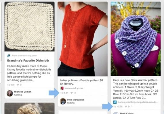In the process of marketing a knitting retailer online, you are bound to look at recent knitting-related pins. When you see popular ones, take note. Use them as a source for content marketing topics.