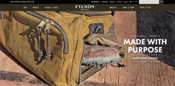 Filson is a good example of a company that uses design to support is brand.