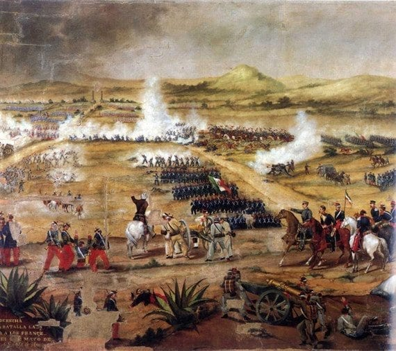 Cinco de Mayo honors Mexico's 1862 victory at the Battle of Puebla. This is the Anónimo, Batalla (A<em>nonymous, Battle</em>) depiction.