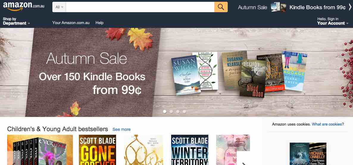 Amazon's Australia site sells only electronic, downloadable goods. For physical goods, Amazon directs consumers to its U.S. global site. Australian consumers lead the world in buying goods from other countries.