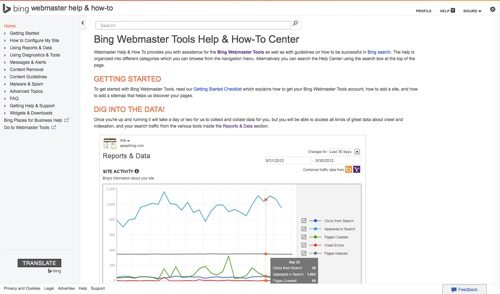Bing Webmaster Tools & How-To Center.