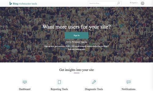 Bing Webmaster Tools.