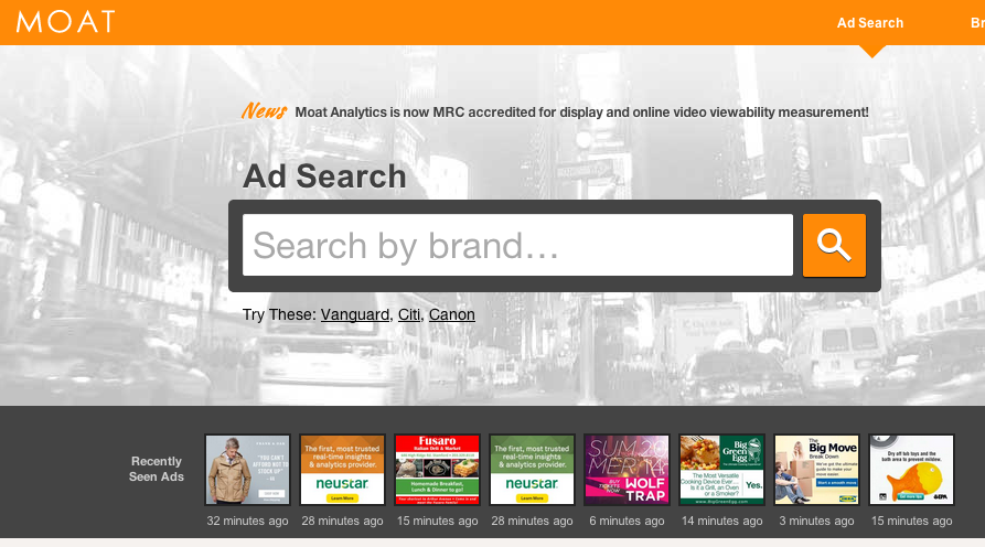 Moat's free ad search tools help track competitors' display ads.