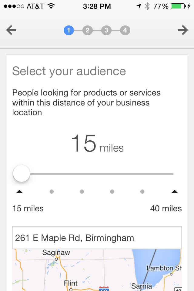 AdWords Express create mobile ad, step 1.