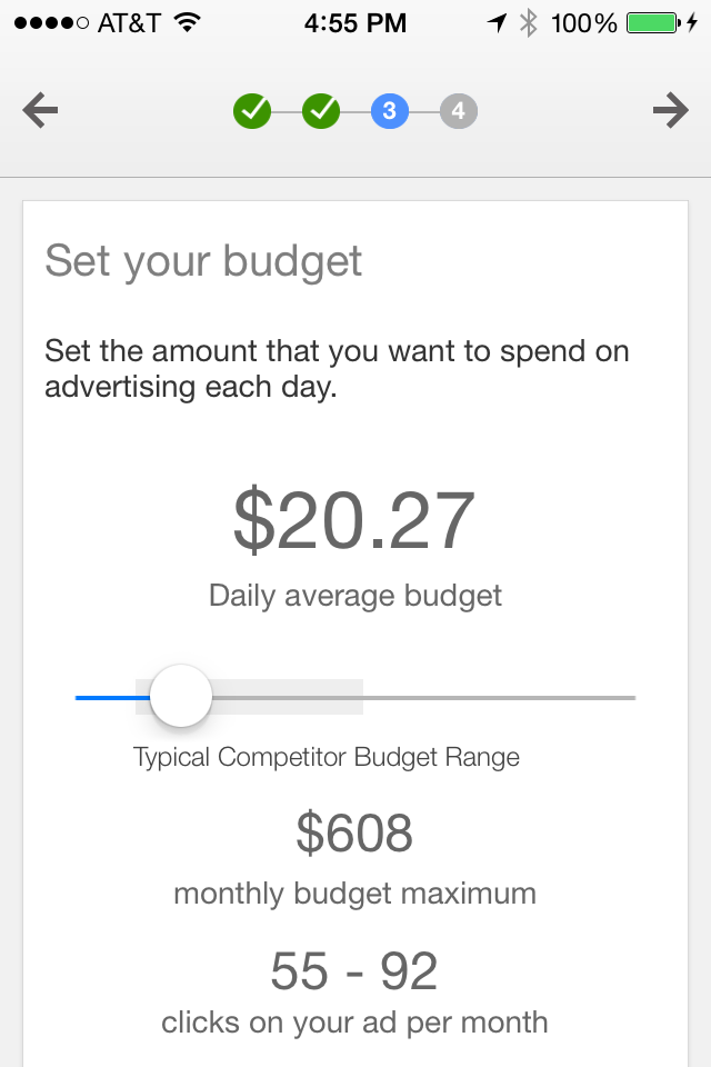 AdWords Express create mobile ad, step 3.