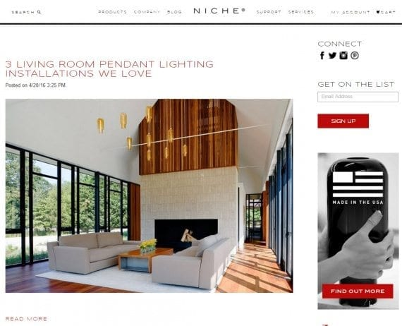 Niche.com uses stellar, whole-room photos to address specific lighting installations.
