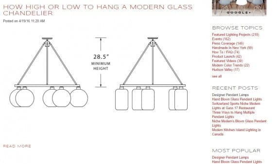 Niche.com sells contemporary home furnishings. In this blog post, it shows us how to hang a modern chandelier.