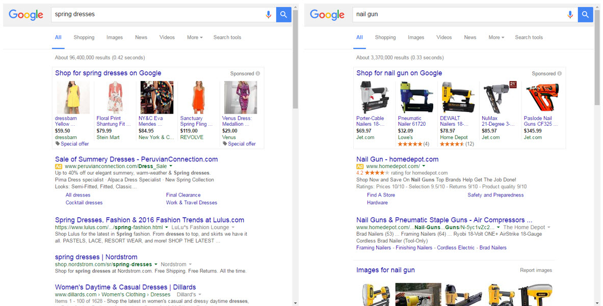 "Typical high-value ecommerce search results — for ""spring dresses"" and ""nail gun"" — with a mix of paid and organic elements."