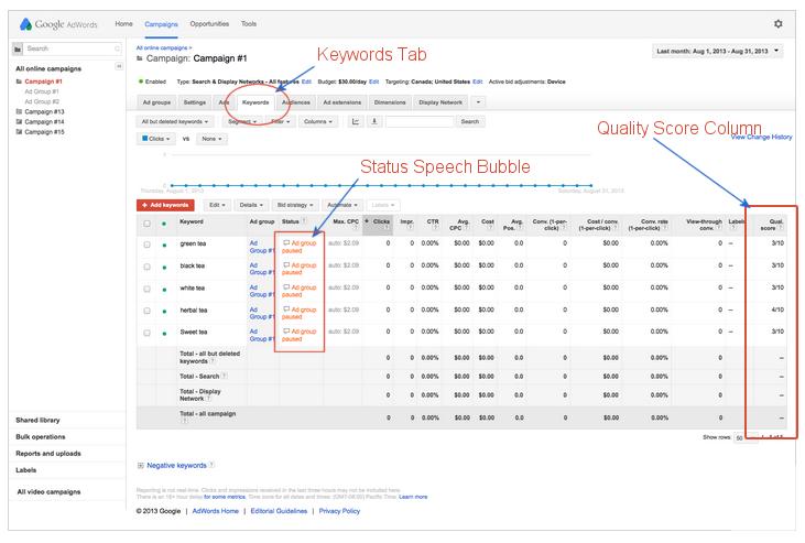 Google quality score location