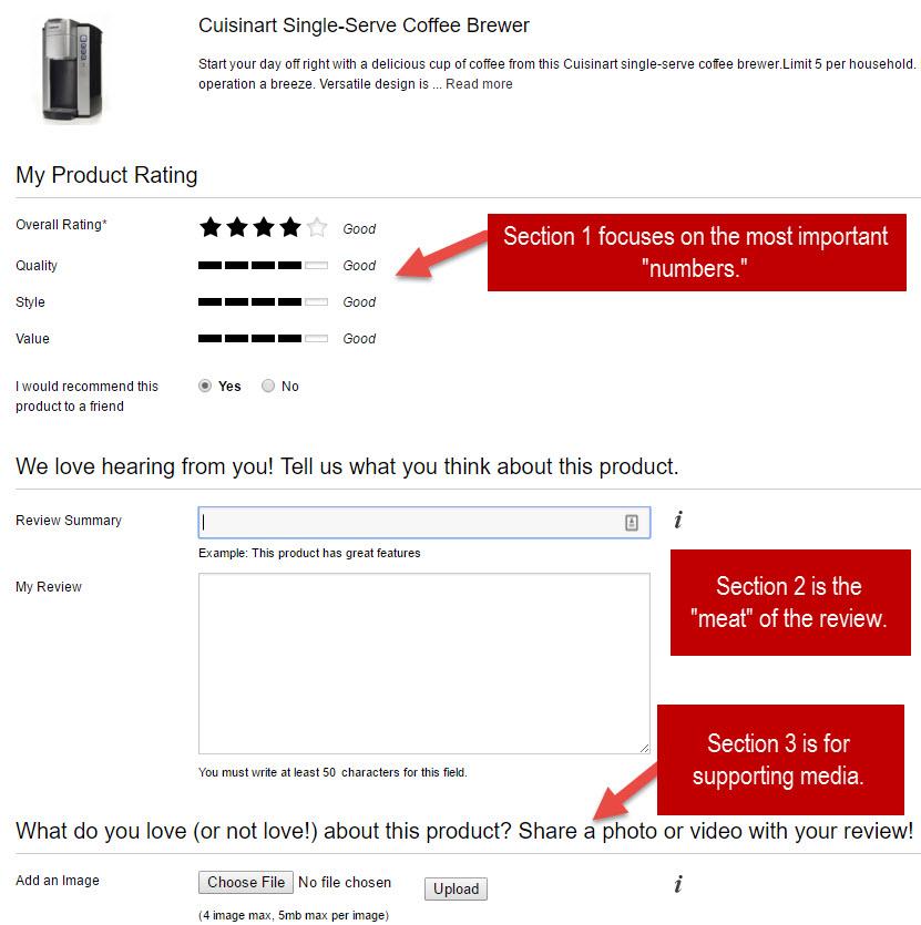 Kohls.com product review form