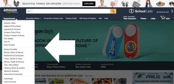 Amazon follows a standard ecommerce site design convention, placing product navigation on the left side of the page. Sites that use left-side product navigation tend to have a relatively greater number of product categories.