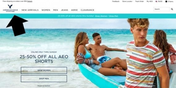 As you would expect, American Eagle Outfitters has positioned its logo at the top left of the page layout. The logo links directly back to the home page.