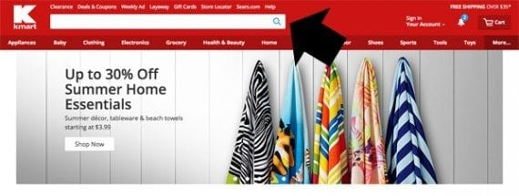 Kmart has placed a large search form right in the page header, just where customers would expect to find it.