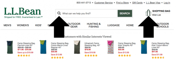L.L.Bean uses standard icons to represent search and the shopping bag.