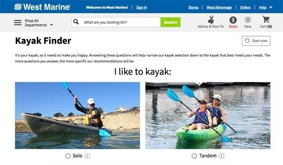 "West Marine's ""kayak finder"" asks shoppers questions about how a kayak will be used in order to make a better product recommendation."