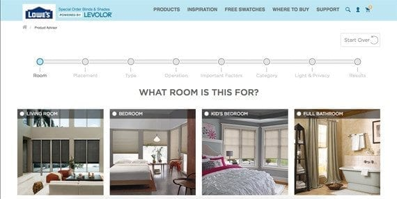 Ecommerce guided selling solutions use questions to make product recommendations, such as this example from Lowe's for window coverings.
