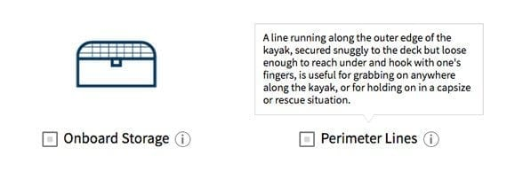West Marine's kayak guide offers short bits of information to help shoppers make better choices and feel more confident about the recommendation.