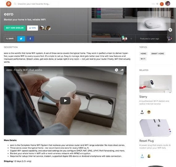 """Product Hunt curates reviews and discussions, to help consumerslocate merchandise. Previously, shopperson Product Hunt went to merchants' sites to consummate the transaction. But now, they can buy directly on ProductHunt.com, on its """"Shop."""""""