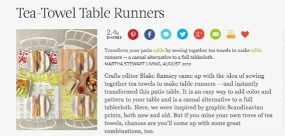 A do-it-yourself article about tea-towel table runners might be just the right summertime content.