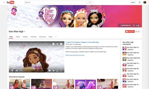 Ever After High Channel on YouTube.