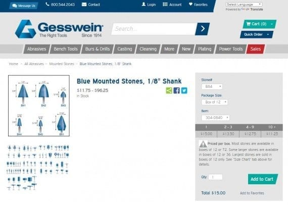 Paul H Gesswein Co. supplies precision tools and equipment to metal manufacturers. This product page at Gesswein.com allows for pricing of quantity discounts after allowing customers to make selections for stone and package size. Complex pricing is often required for B2B ecommerce sites.