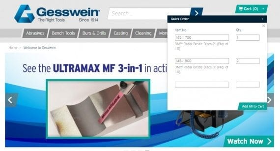 Gesswein.com allows customers that know the item number to quickly enter the products using the quick order tool.