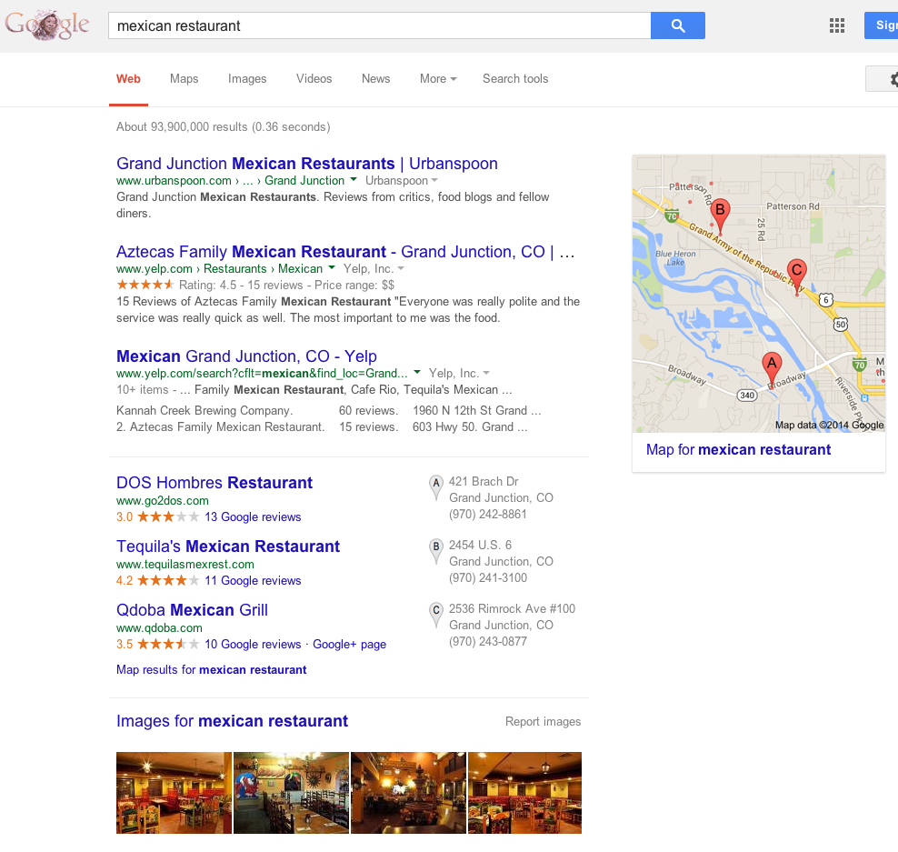 Google search results for mexican restaurant