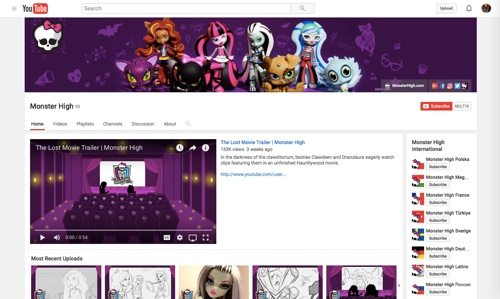 Monster High Channel on YouTube.
