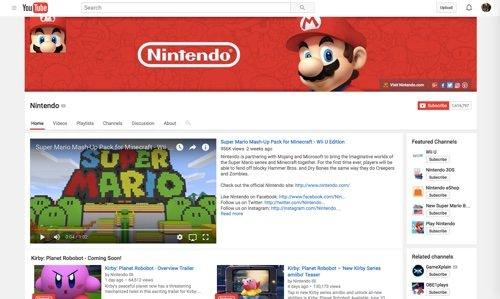 Nintendo Channel on YouTube.