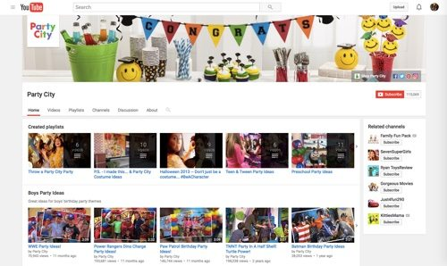 Party City Channel on YouTube.