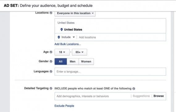Facebook's demographic-behavior options are now combined into one main section: Detailed Targeting.