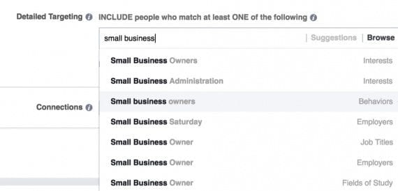 "Searching for ""small business"" to target, there are many different results, with two columns of text. The left column is the actual target — ""Small Business Owners"" in this case. The right column is the type of target — ""Interests."""