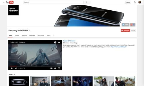 Samsung Mobile USA Channel on YouTube.
