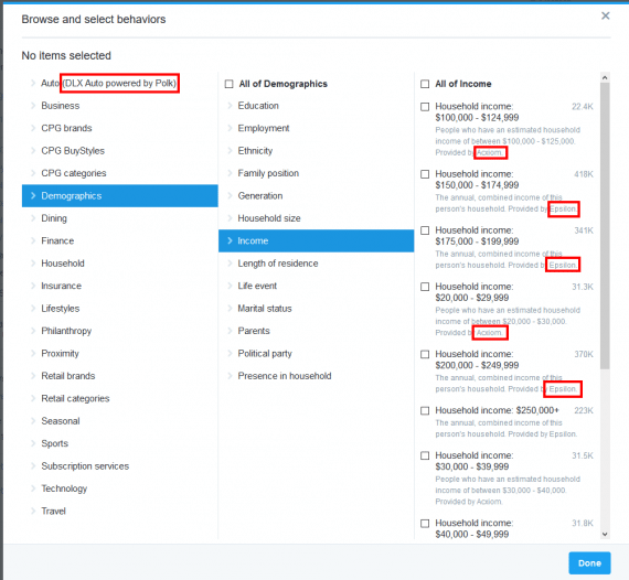 Twitter provides ad targeting options using data from IHS Automotive, Acxiom, and Epsilon.