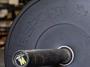 Image of a FringeSport-branded barbell