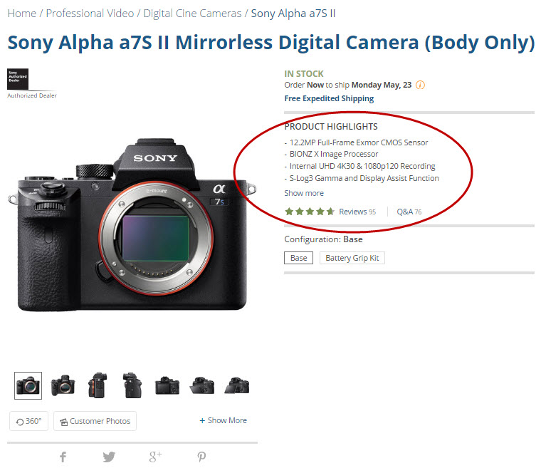Savvy camera shoppers know what they want. B&H Photo lists the most attractive features using easy-to-read bullet points.