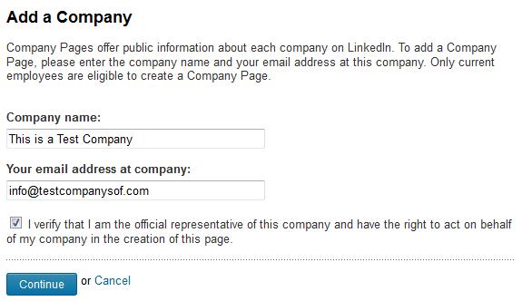 LinkedIn add your company.