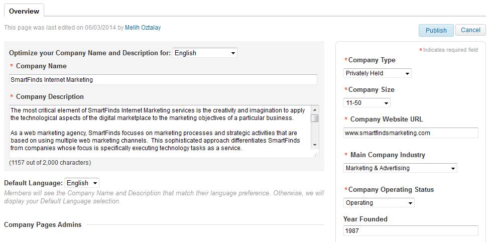 LinkedIn Company edit page for SmartFinds Internet Marketing.