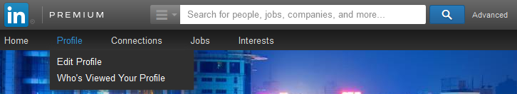 Editing personal profile in LinkedIn.