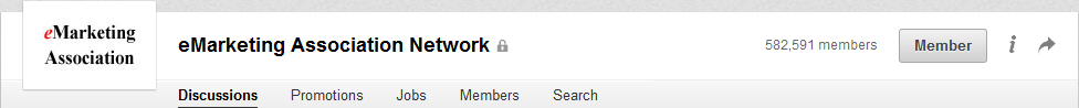 "LinkedIn group page after joining, where ""Join"" now reads ""Member."""