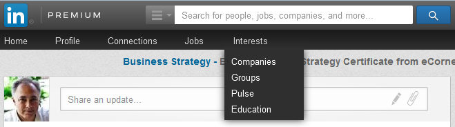 LinkedIn groups menu location.