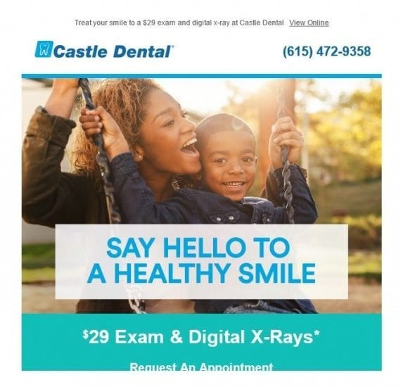 """Preheaders — such as this example: """"Treat your smile to a $29 exam..."""" — remain above the creative copy after emails are opened."""
