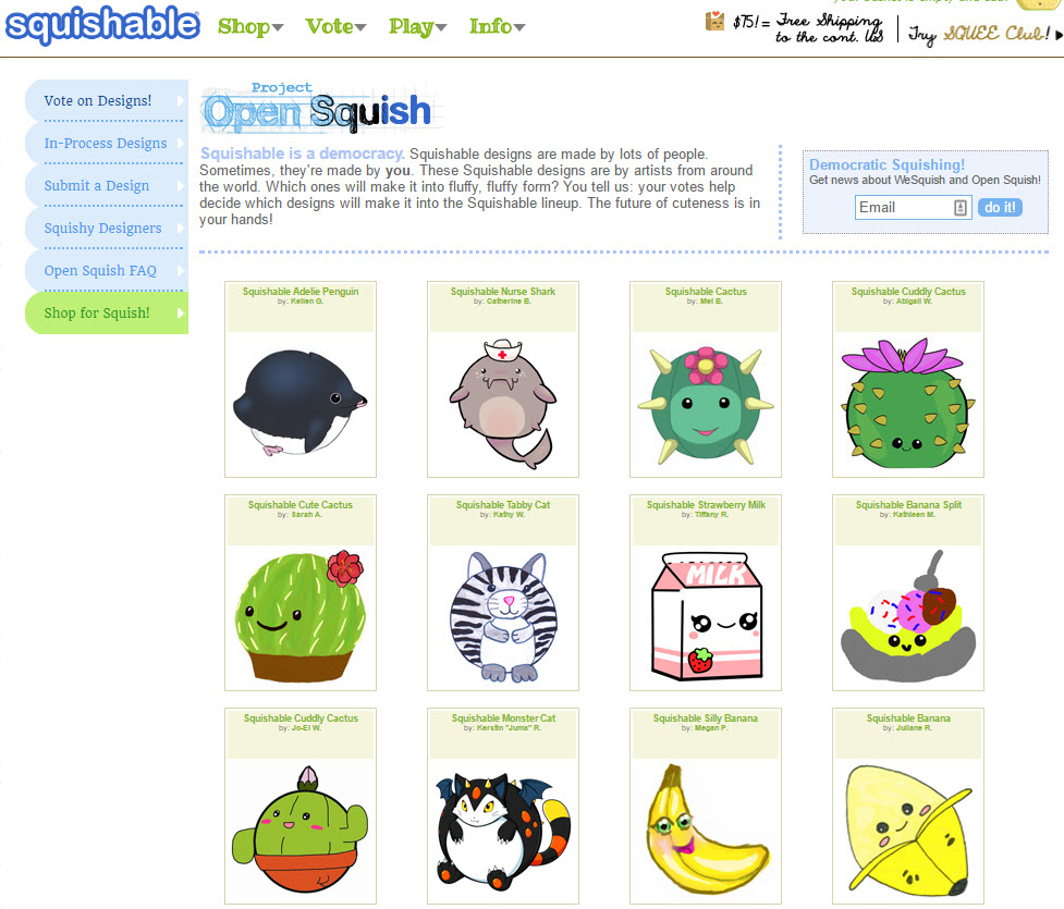 Squishable lets visitors vote on which products get created.