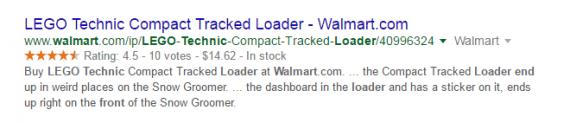 Esta listagem da página de resultados de pesquisa do Google mostra os dados estruturados.