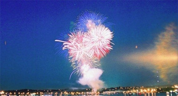 A Canada Day fireworks display over Barrie, Ontario. <em>Source: Wikipedia.</em>