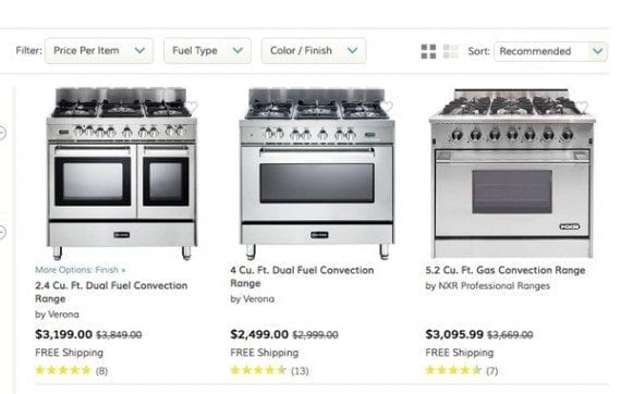 Wayfair offers free shipping on even hard to ship items.