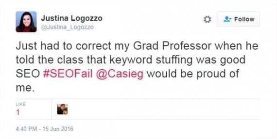 Justina Logozzo's tweet from June 16 shows that keyword stuffing is still taught.