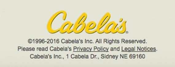 Outfitter and retailer, Cabela's is another example of a website that includes a copyright notice in its site footer.