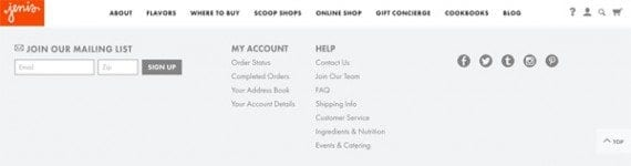 Jeni's sells high quality ice creams. Its site was one of 99 reviewed for footer content insights.